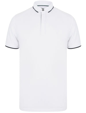Stable Cotton Pique Polo Shirt with Tipping in Bright White - Kensington Eastside