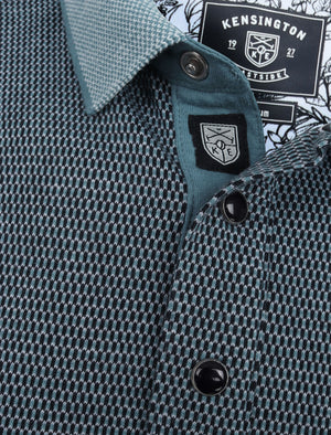 Artillery Cotton Jacquard Polo Shirt with Chest Pocket In Blue Heaven - Kensington Eastside