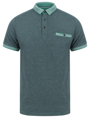 Artillery Cotton Jacquard Polo Shirt with Chest Pocket In River Green - Kensington Eastside