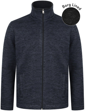 Devonport Borg Lined Zip Through Bonded Fleece In Navy – Kensington Eastside