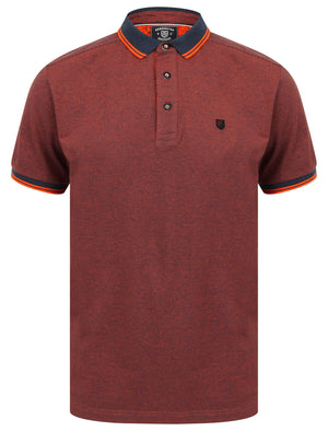 Goldsmith Jacquard Jersey Polo Shirt with Tipping In Koi Orange - Kensington Eastside