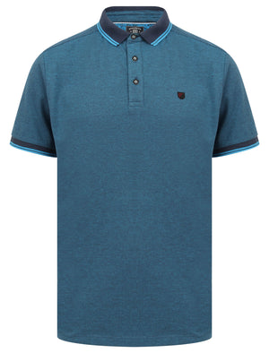 Goldsmith Jacquard Jersey Polo Shirt with Tipping In Mid Blue - Kensington Eastside