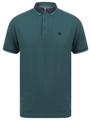 Goldsmith Jacquard Jersey Polo Shirt with Tipping In River Green - Kensington Eastside
