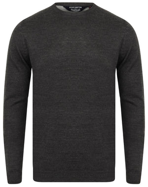 Houston Basic Crew Neck Knitted Jumper in Charcoal Marl – Kensington Eastside