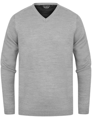 Jarrett Basic V Neck Knitted Jumper in Light Grey Marl - Kensington Eastside