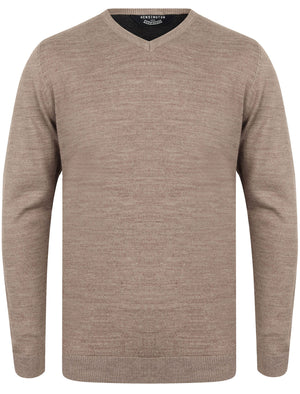 Jarrett Basic V Neck Knitted Jumper in Taupe Marl - Kensington Eastside
