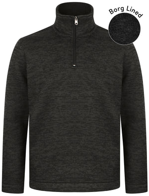 Malcolm Borg Lined Half Zip Bonded Pullover Fleece In Charcoal – Kensington Eastside