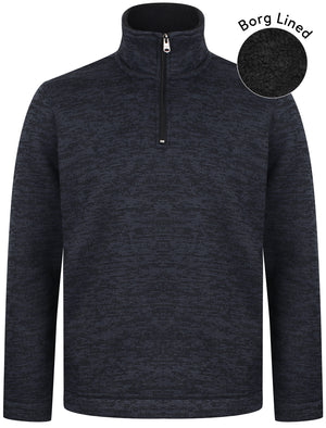 Malcolm Borg Lined Half Zip Bonded Pullover Fleece In Navy – Kensington Eastside