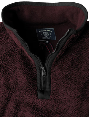 Micro Soft Jacquard Fleece Lined Bonded Pullover with Half Zip In Oxblood / Black - Kensington Eastside
