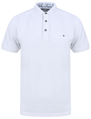 Providence Cotton Pique Polo Shirt with Mock Chest Pocket in Bright White - Kensington Eastside