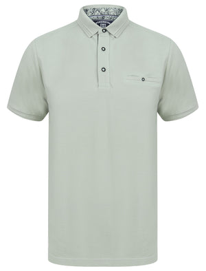 Providence Cotton Pique Polo Shirt with Mock Chest Pocket in Sea Foam Green - Kensington Eastside