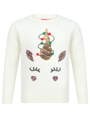Girls Xmas Fairy Light Unicorn Crew Neck Christmas Jumper In Gardenia White - Merry Christmas