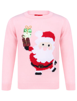 Girls Xmas Santa With Presents Novelty Christmas Jumper in Almond Blossom – Merry Christmas