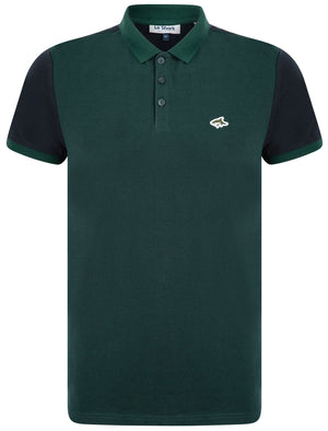Max Cotton Pique Polo Shirt with Birdseye Front Panel In Dune Bug / Navy – Le Shark