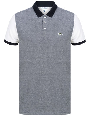 Max Cotton Pique Polo Shirt with Birdseye Front Panel In Navy / Optic White - Le Shark