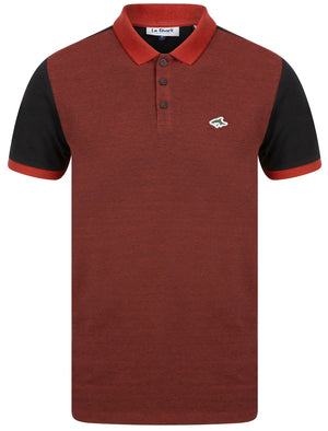 Max Cotton Pique Polo Shirt with Birdseye Front Panel In Rosewood / Black – Le Shark