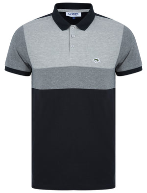 Nathan Colour Block Cotton Pique Polo Shirt in Light Grey Marl - Le Shark