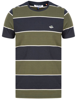 Nolan Striped Cotton Jersey T-Shirt in Sky Captain Navy – Le Shark