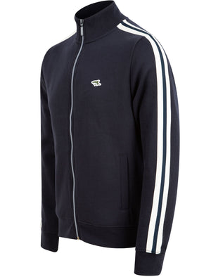 Peter Brushback Fleece Cotton Blend Track Jacket with Racer Stripes in Sky Captain Navy - Le Shark