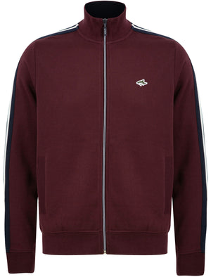 Peter Brushback Fleece Cotton Blend Track Jacket with Racer Stripes in Winetasting - Le Shark