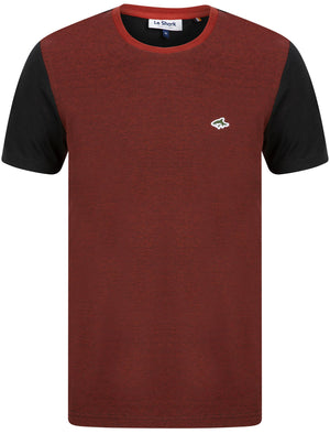 Ruben Cotton Jersey T-Shirt with Birdseye Front Panel in Rosewood / Black – Le Shark