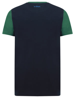 Adon Colour Block Panel Cotton Jersey T-Shirt in Hunter Green - Le Shark