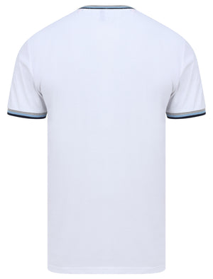 Archer Cotton Jersey T-Shirt with Ribbed Tipping in Bright White - Le Shark