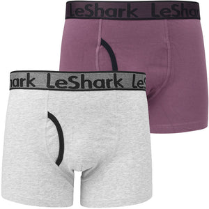 Cottage (2 Pack) Boxer Shorts Set in Grape Jam / Light Grey Marl – Le Shark