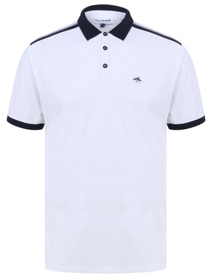 Mariner 2 Cotton Jersey Polo Shirt with Tape Detail In Bright White – Le Shark