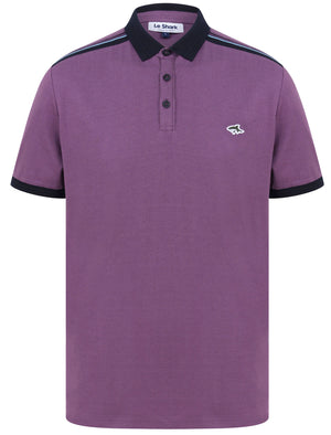 Mariner 2 Cotton Jersey Polo Shirt with Tape Detail In Grape Jam - Le Shark