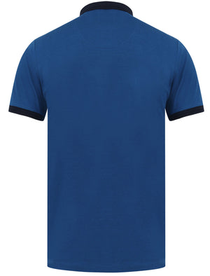 Mariner 2 Cotton Jersey Polo Shirt with Tape Detail In Limoges Blue - Le Shark