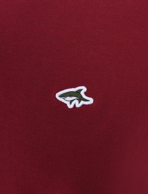 Midhurst 2 Tipped Cotton Pique Polo Shirt In Beet Red - Le Shark