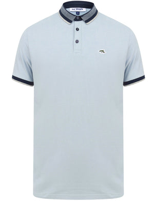Mill 2 Cotton Pique Polo Shirt with Jacquard Collar In Blue Fog - Le Shark