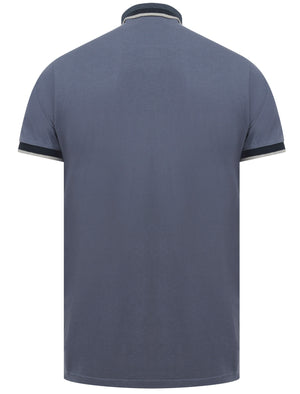 Mill 2 Cotton Pique Polo Shirt with Jacquard Collar In Vintage Indigo - Le Shark