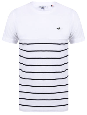 Minting Cotton Jersey Striped T-Shirt In Bright White - Le Shark