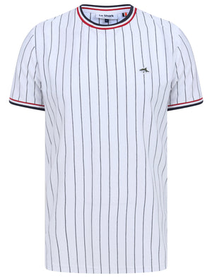 Montague Pinstripe Cotton Jersey T-Shirt with Ribbed Tipping in Bright White - Le Shark
