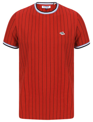 Montague Pinstripe Cotton Jersey T-Shirt with Ribbed Tipping in Scarlet Sage - Le Shark