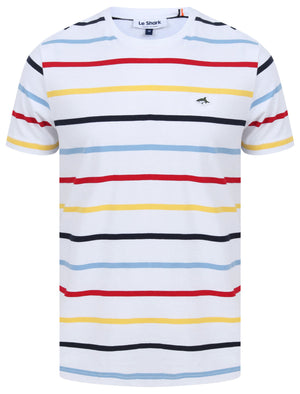 Orchardson Multi-colour Stripe Cotton Jersey T-Shirt In Bright White – Le Shark