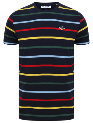 Orchardson Multi-colour Stripe Cotton Jersey T-Shirt In Sky Captain Navy – Le Shark