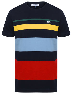 Ormsby Striped Colour Block Cotton T-Shirt In Sky Captain Navy – Le Shark