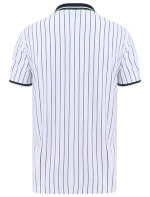 Osbert Pinstripe Cotton Pique Polo Shirt with Tipping In Bright White - Le Shark