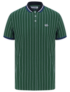 Osbert Pinstripe Cotton Pique Polo Shirt with Tipping In Hunter Green - Le Shark