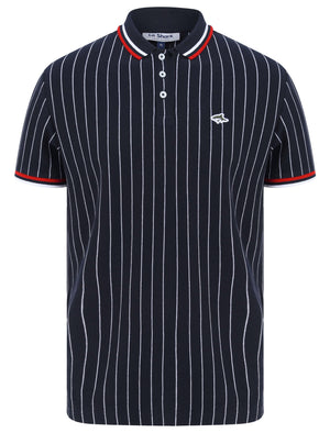 Osbert Pinstripe Cotton Pique Polo Shirt with Tipping In Sky Captain Navy - Le Shark