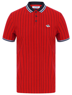 Osbert Pinstripe Cotton Pique Polo Shirt with Tipping In Scarlet Sage - Le Shark