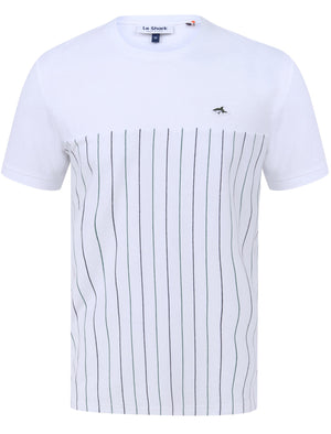 Overhill Pinstripe Cotton Jersey T-Shirt in Bright White - Le Shark