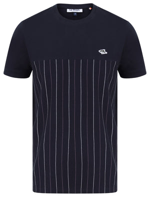 Overhill Pinstripe Cotton Jersey T-Shirt in Sky Captain Navy - Le Shark