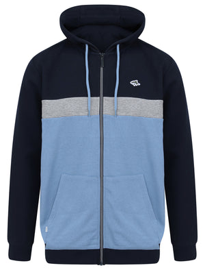 Padbury Colour Block Zip Through Hoodie in Allure Blue - Le Shark