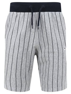Parkgate Pinstripe Jogger Shorts in Light Grey Marl - Le Shark