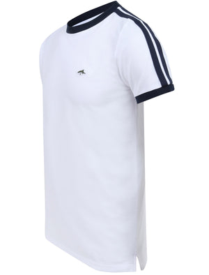 Parkhill Cotton Pique T-Shirt with Racer Tape Panel Detail in Bright White - Le Shark