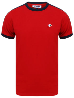 Parkhill Cotton Pique T-Shirt with Racer Tape Panel Detail in Scarlet Sage - Le Shark